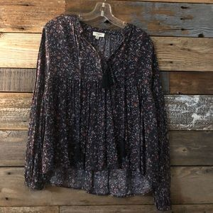 Floral Purple Long Sleeve Blouse
